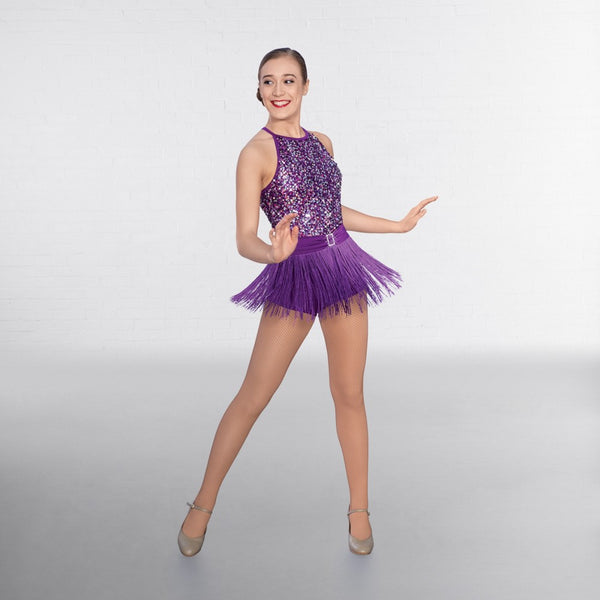 1st Position Purple Sequin Bodice Fringe Unitard - Dazzle Dancewear Ltd