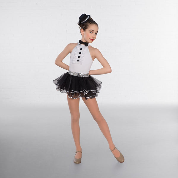 1st Position Frilled Front Glitz Leotard with Bow Tie