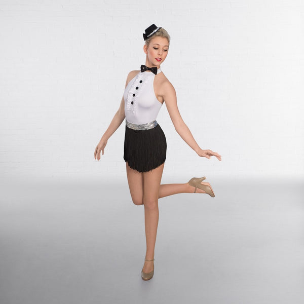 1st Position Frilled Front Glitz Leotard with Bow Tie - Dazzle Dancewear Ltd