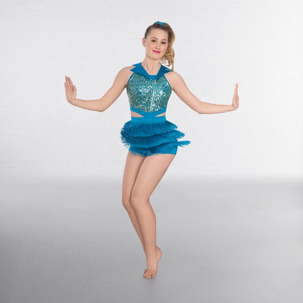 1st Position Collared Sequin Vest with Fringe Shorts - Dazzle Dancewear Ltd