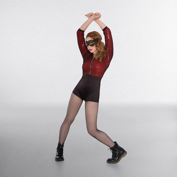 1st Position Mesh Sequin Hooded Unitard-Dazzle Dancewear Ltd
