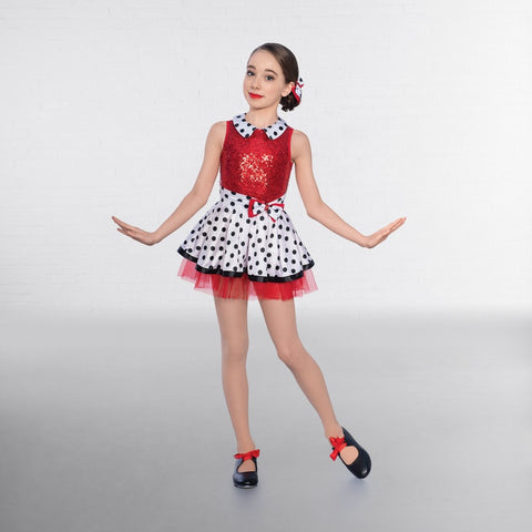 1st Position Dotty Collar Sequin Glitz Dress - Dazzle Dancewear Ltd