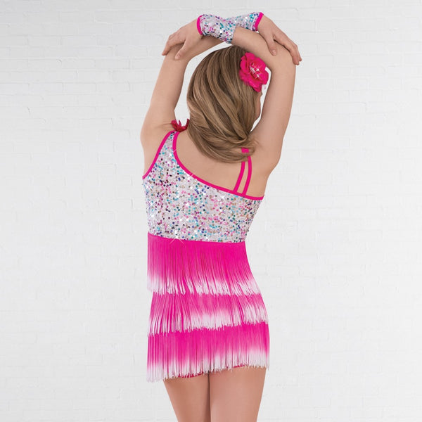 1st Position Pink White Multi Sequin Glitz Dress with Ombré Fringe