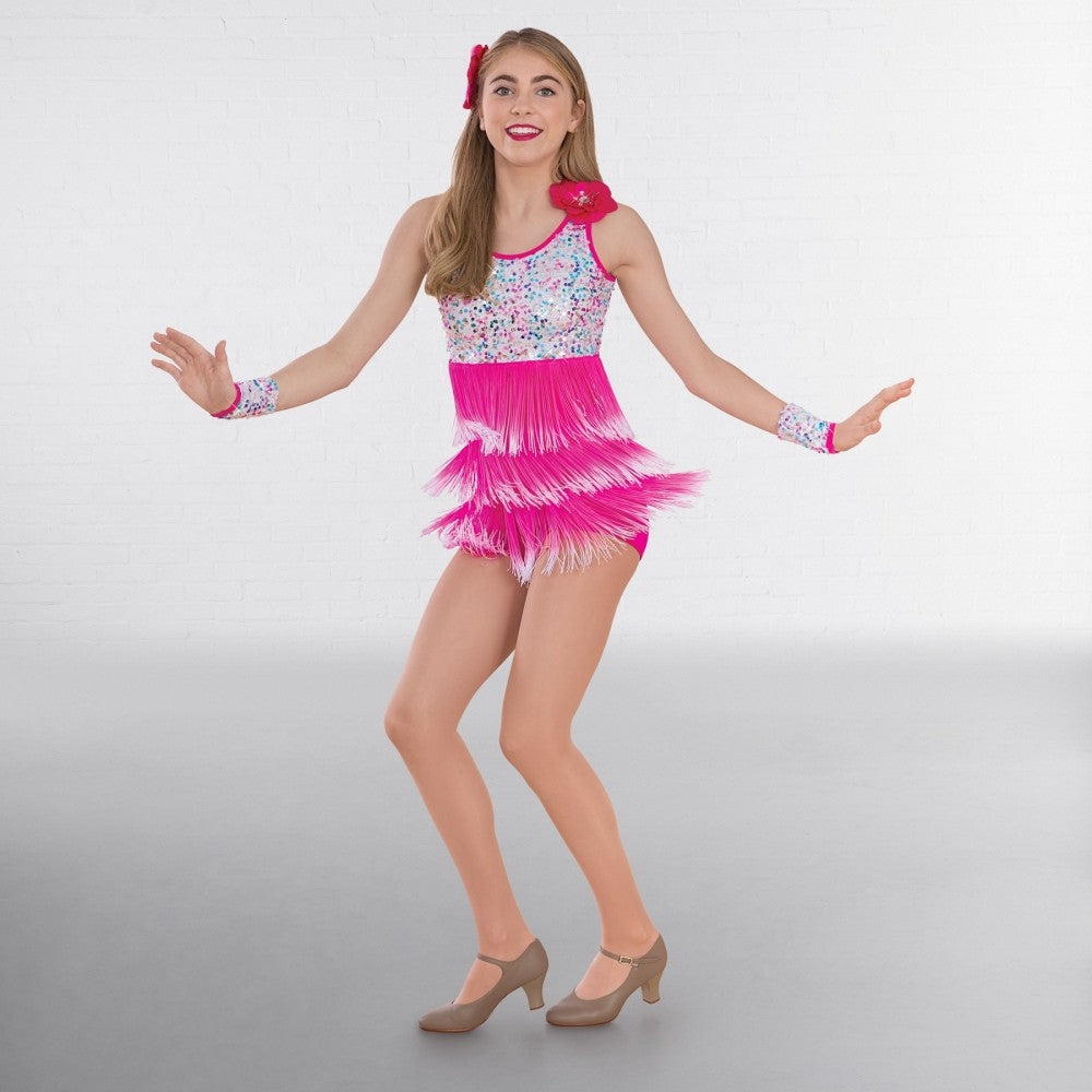 badab3194ddb 1st Position Pink White Multi Sequin Glitz Dress with Ombré Fringe – Dazzle  Dancewear Ltd