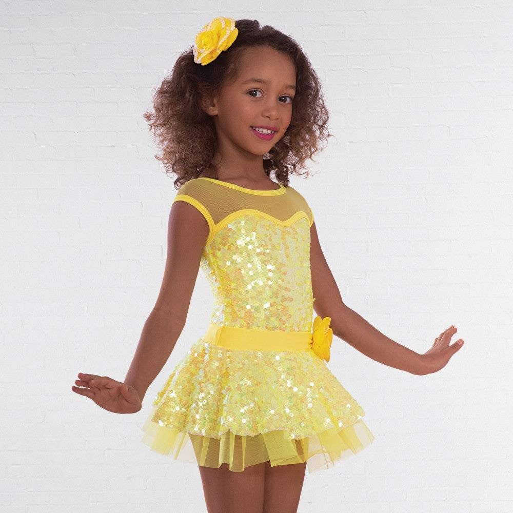 1st Position Yellow Sequin Glitz Dress - Dazzle Dancewear Ltd