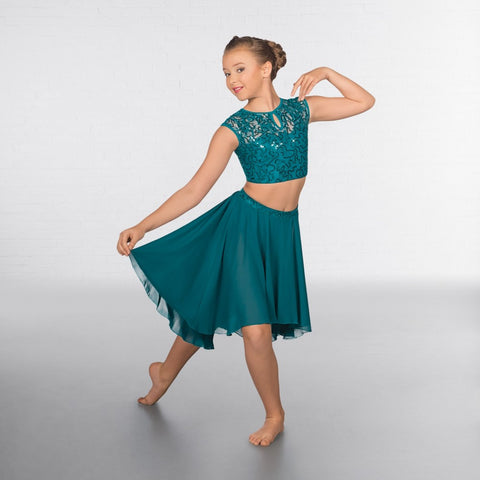 1st Position Lace Sequin Dipped Hem Lyrical Two Piece - Dazzle Dancewear Ltd