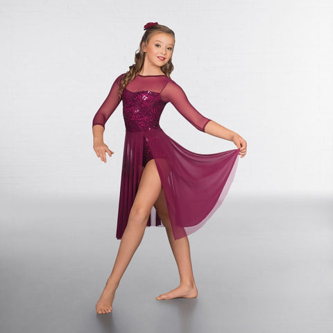1st Position Sequin Lace Crop Sleeved Lyrical - Dazzle Dancewear Ltd