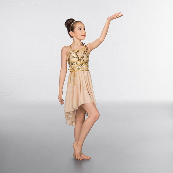 1st Position Gold Wrap Around Sequin Dipped Hem Lyrical Dress