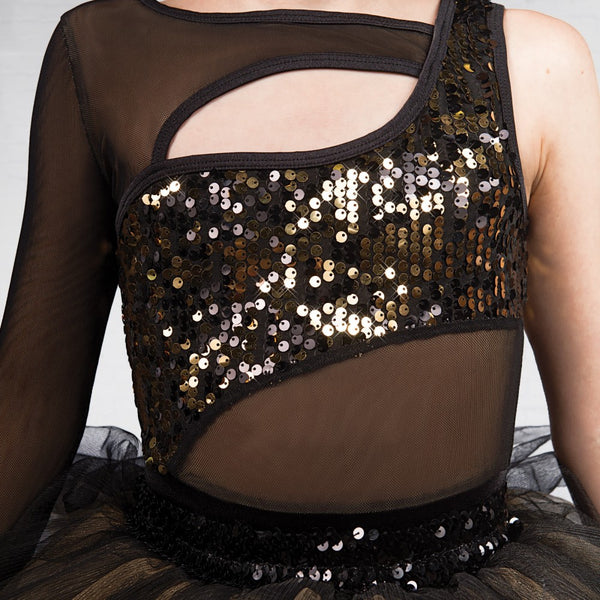 1st Position 1 Sleeved Sequin Mesh Unitard with Separate Tutu