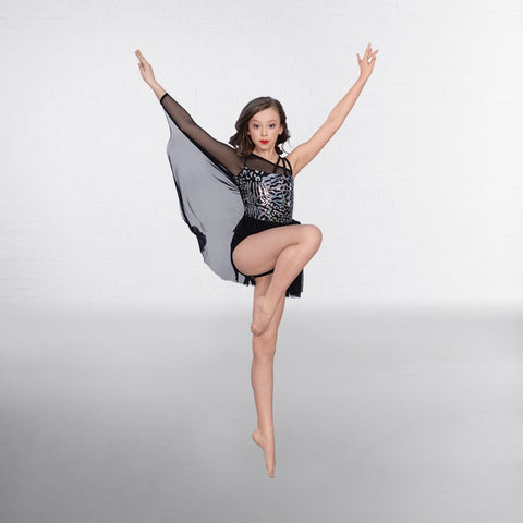 1st Position Contemporary Mesh Winged Sequin Unitard