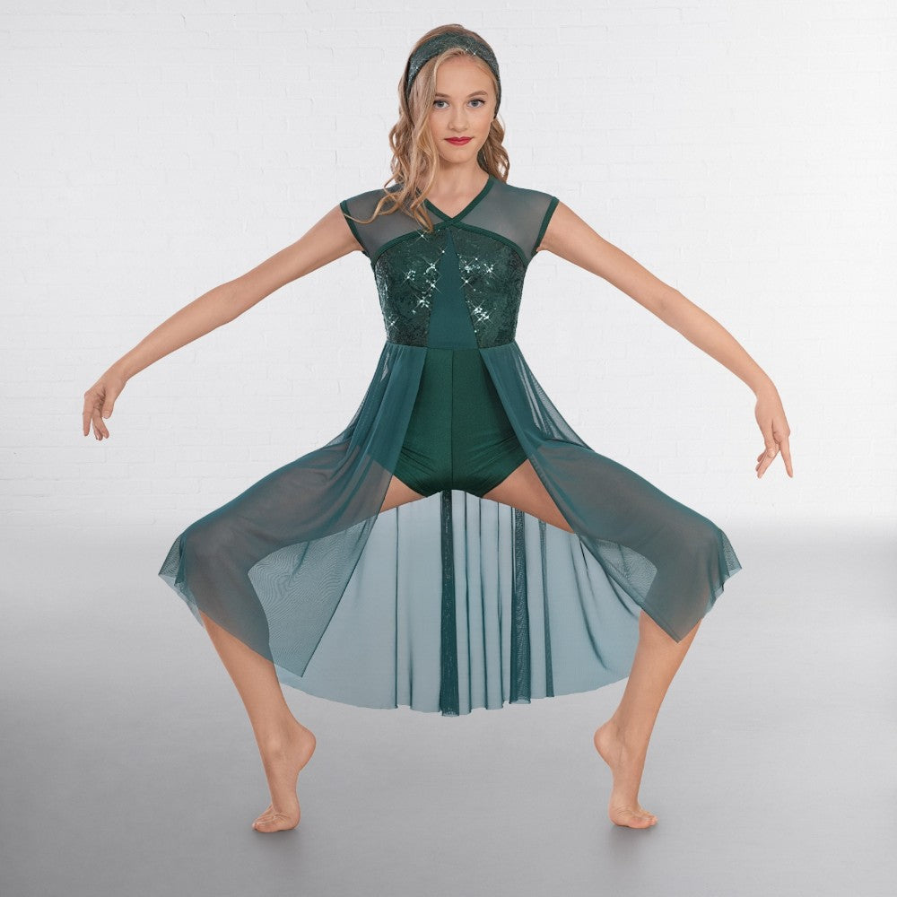 1st Position Green Sequin Lyrical Unitard with Open Front Skirt - Dazzle Dancewear Ltd