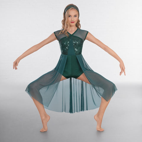 1st Position Green Sequin Lyrical Unitard with Open Front Skirt