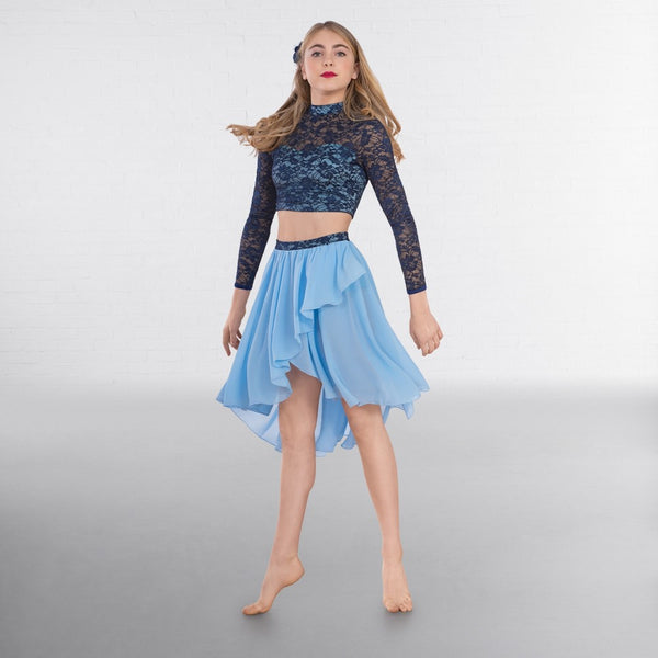 1st Position Blue Contrast Two-Tone Lace Top and Lyrical Dance Skirt - Dazzle Dancewear Ltd