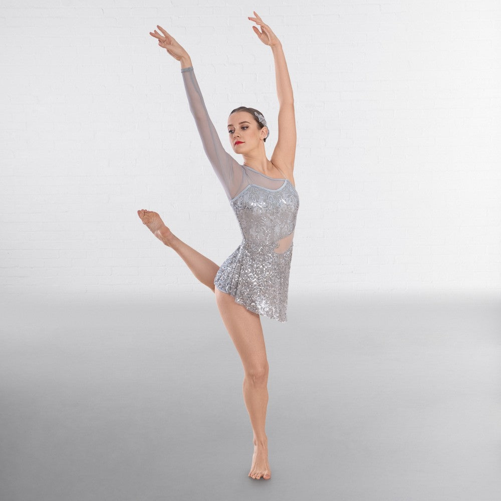 1st Position Silver Asymmetric Sequin Lyrical Dance Unitard with Mesh Panels - Dazzle Dancewear Ltd