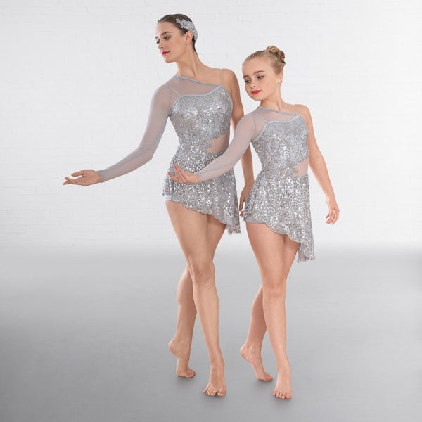 1st Position Silver Asymmetric Sequin Lyrical Dance Unitard with Mesh Panels