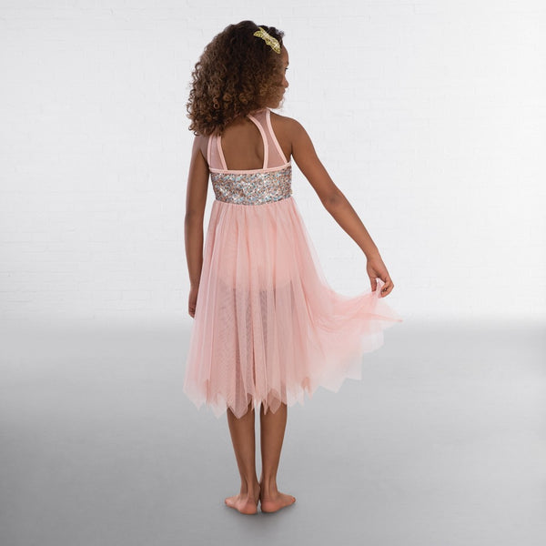 1st Position Pink High Neck Multi Sequin Lyrical Dress - Dazzle Dancewear Ltd