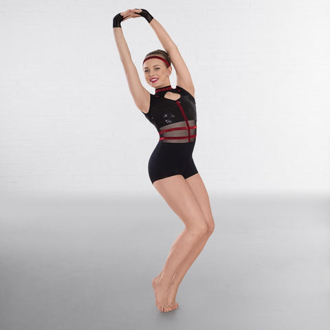 1st Position Black & Red Cap Sleeved Sequin Dance Unitard with Cutaway Panels