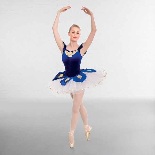 1st Position Royal Blue Velour Applique Ballet Dance Tutu - Dazzle Dancewear Ltd