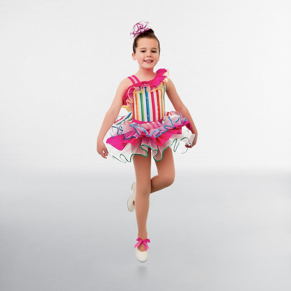1st Position Rainbow Stripe Glitz Tutu - Dazzle Dancewear Ltd