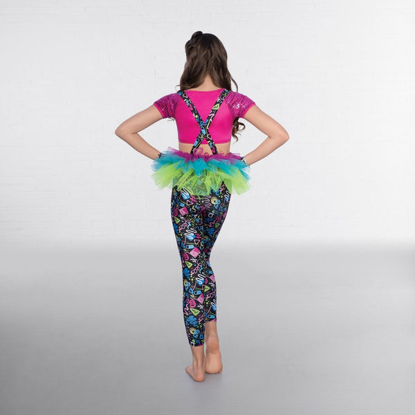 1st Position Sequin Crop Top with Printed Leggings and Separate Tutu - Dazzle Dancewear Ltd