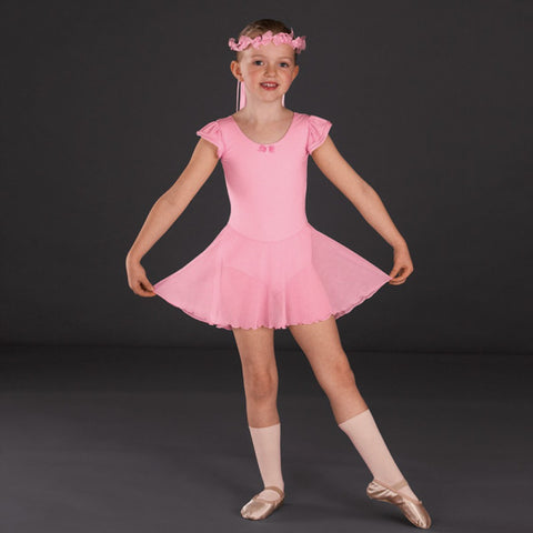 Capezio 3973C Pink Flutter Sleeve Ballet Dance Dress - Dazzle Dancewear Ltd