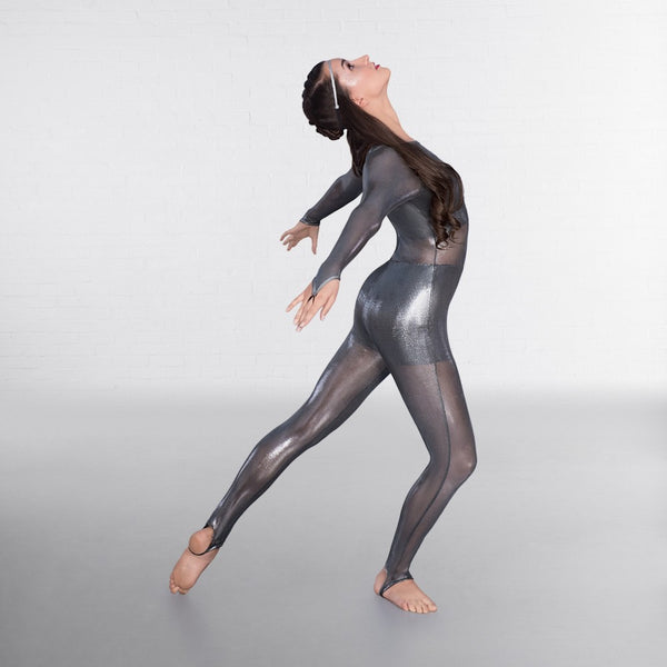 1st Position Metallic Mesh Catsuit with Shorts & Separate Crop Top - Dazzle Dancewear Ltd