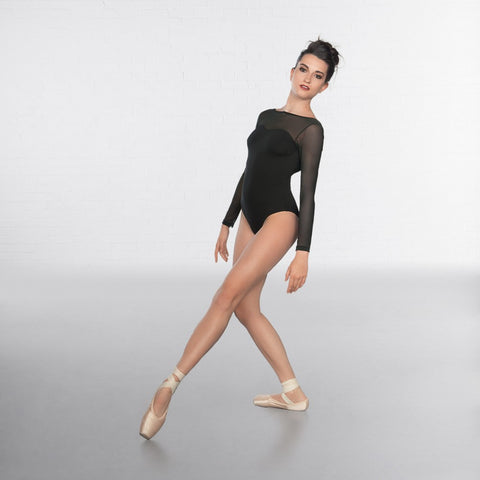 1st Position Black Sweetheart Neck Mesh Long Sleeve Fashion Leotard