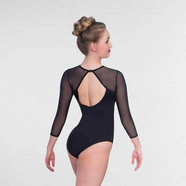 1st Position Mesh 3/4 Length Sleeve Keyhole Fashion Dance Leotard - Dazzle Dancewear Ltd