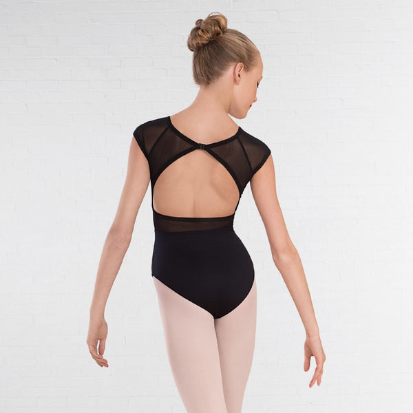 1st Position Raglan Sleeve Open Back Mesh Panel Leotard