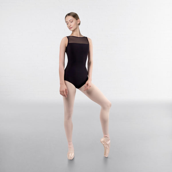 Grishko Black Mesh Yoke Boat Neck Sleeveless Leotard - Dazzle Dancewear Ltd
