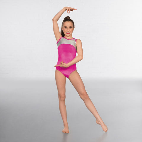 1st Position Velour Silver Hologram Sleeveless Leotard