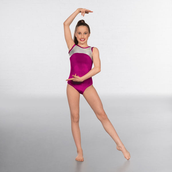 1st Position Velour Silver Hologram Sleeveless Leotard - Dazzle Dancewear Ltd