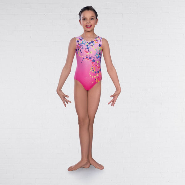 1st Position Pink Star Print Sleeveless Leotard - Dazzle Dancewear Ltd