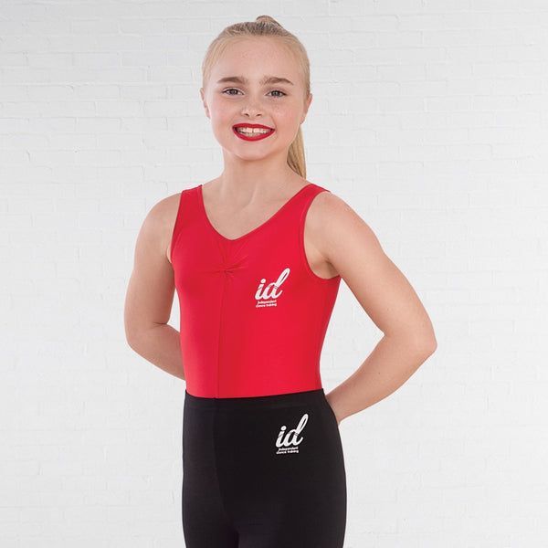IDT Red Modern & Tap Ruched Front Leotard