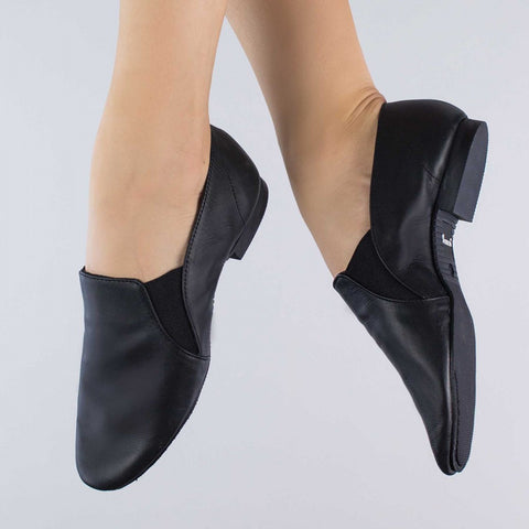1st Position Leather Side Gusset Slip On Full Sole Jazz Shoes
