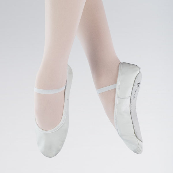 1st Position White Leather Ballet Shoes