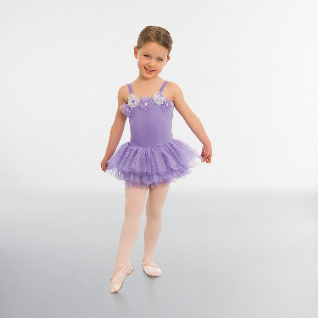 1st Position Flower Button Trim Tutu-Dazzle Dancewear Ltd