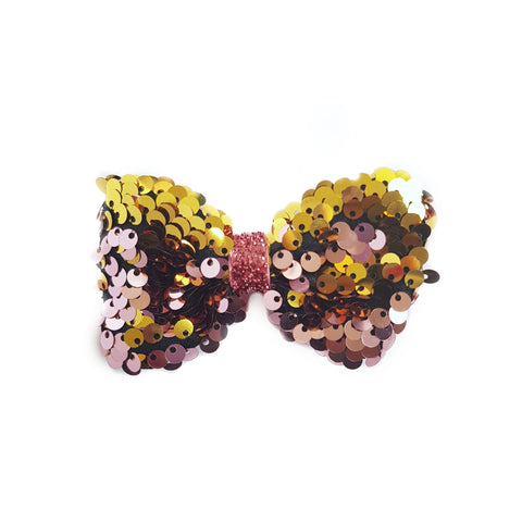 Pink & Gold Reversible Sequin Hair Bow | Dance Accessories & Gifts