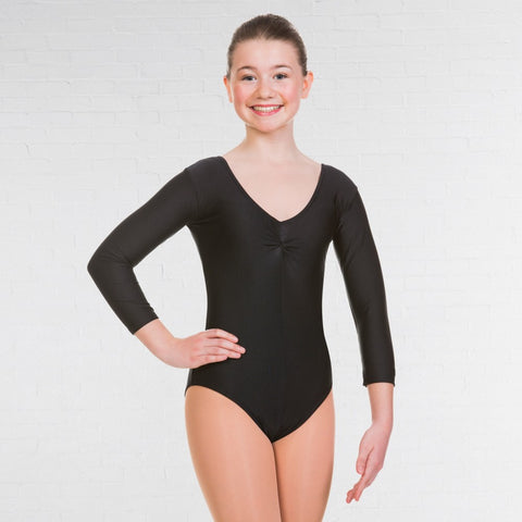 1st Position Black 3/4 Sleeved Dance Leotard
