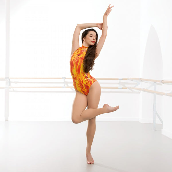 1st Position Phoenix Flame Polo Neck Dance Leotard - Dazzle Dancewear Ltd