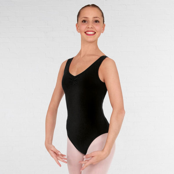 1st Position Ruched Front & Back Leotard Cotton - Dazzle Dancewear Ltd