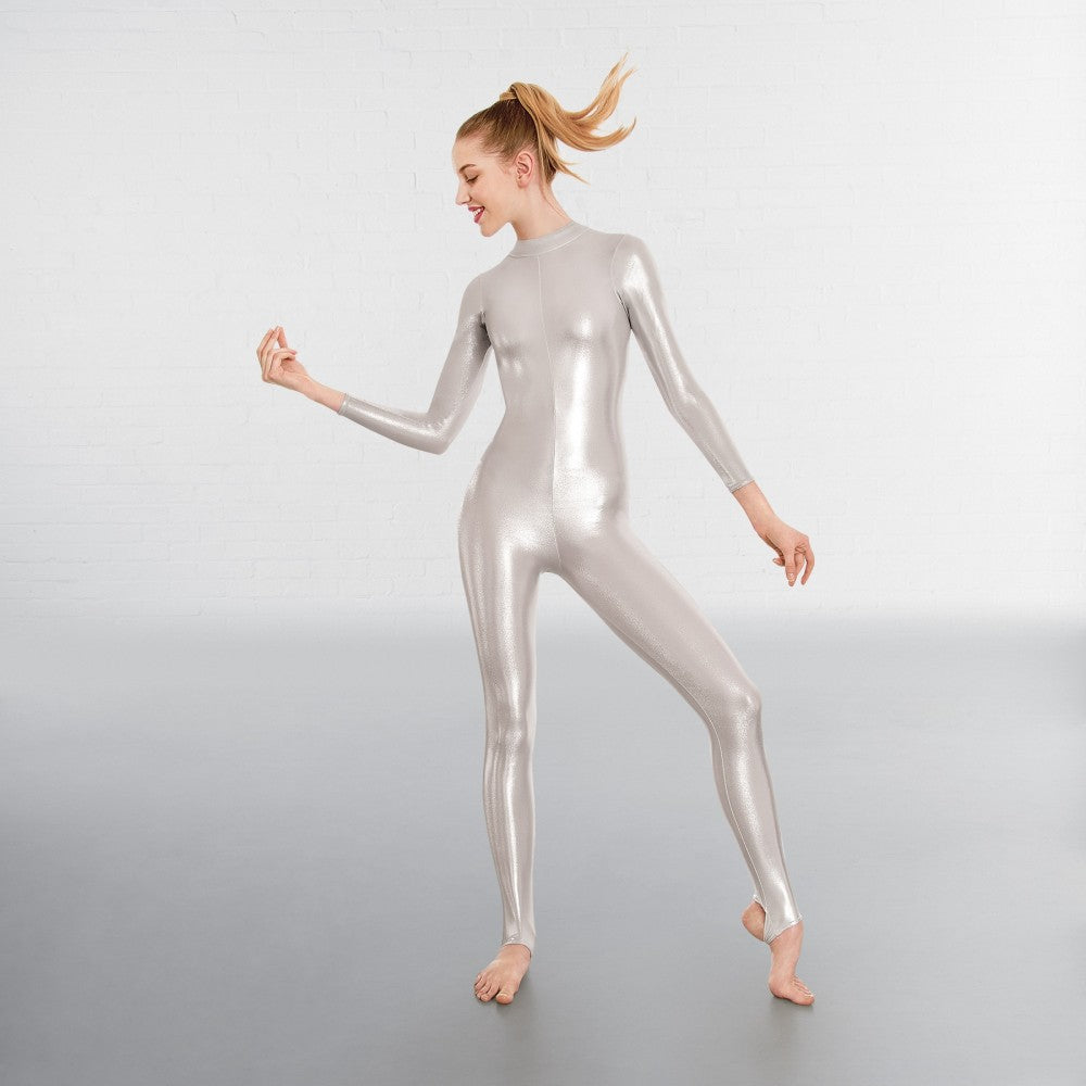 1st Position Silver Long Sleeved Foil Dance Catsuit - Dazzle Dancewear Ltd