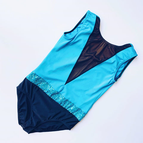 Blue & Black Mesh & Sequin Leotard | Dazzle Dancewear Ltd