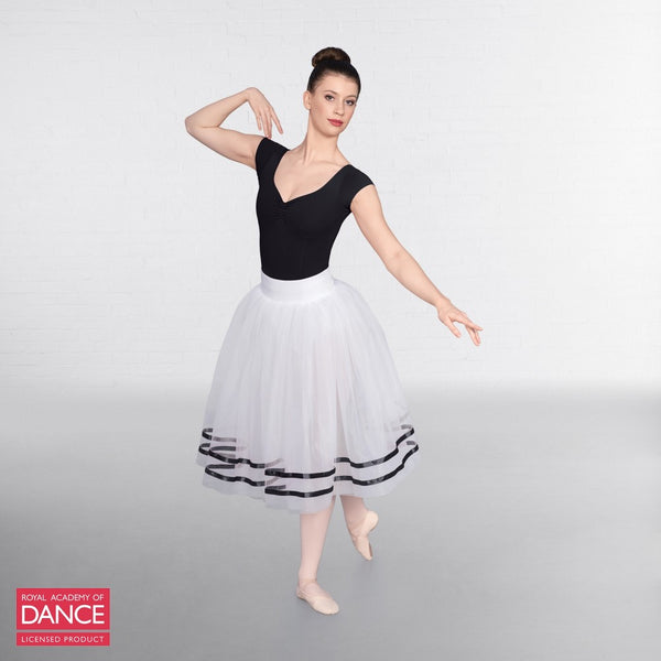RAD Approved Romantic White Tutu with Ribbon - Dazzle Dancewear Ltd