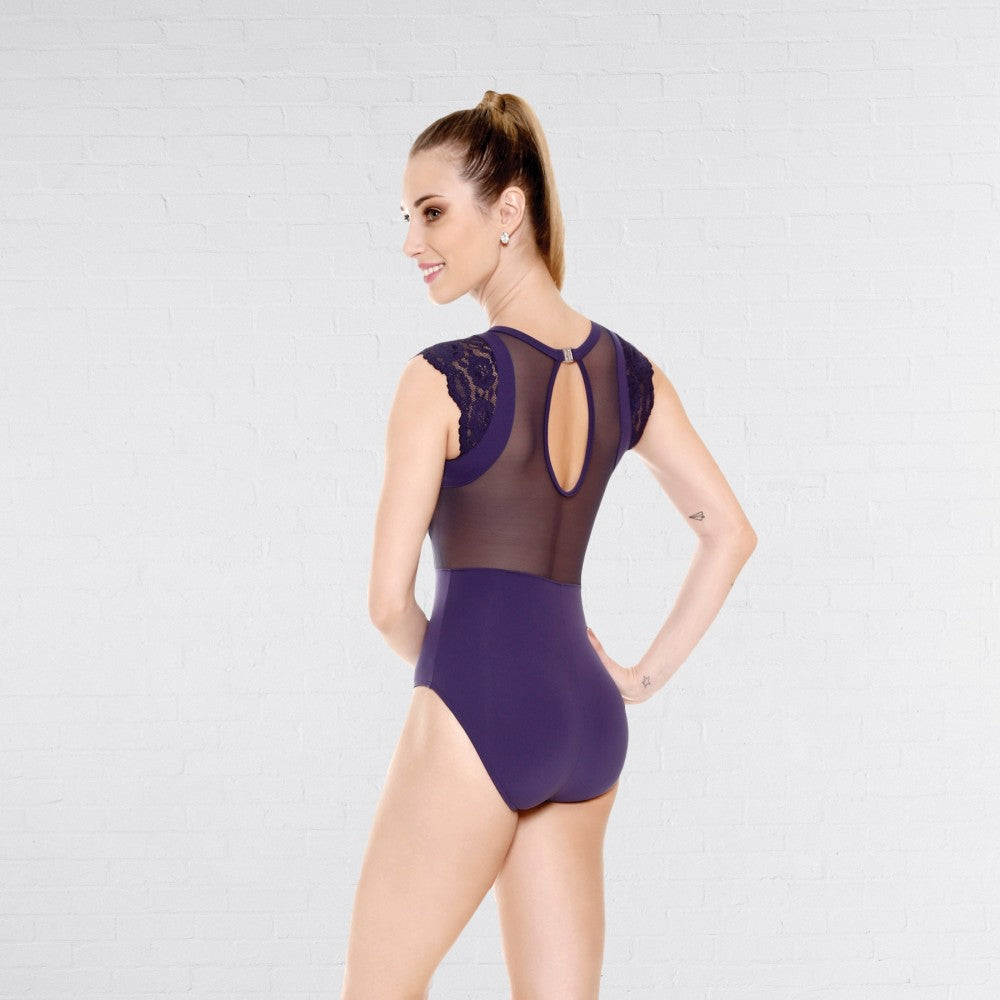 So Danca E-1648 Microfiber Leotard With Mesh Lycra® & Lace Sleeve