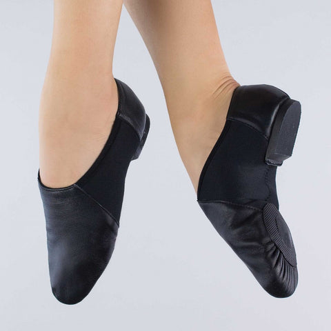 1st Position Black Split Sole Slip On Stretch Jazz Shoes