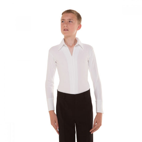 1st Position Boys Ballroom & Latin Competition Zip Front Shirt - Dazzle Dancewear Ltd