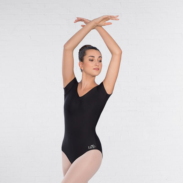United Teachers of Dance UTD Cap Sleeved Ruched Leotard - Dazzle Dancewear Ltd