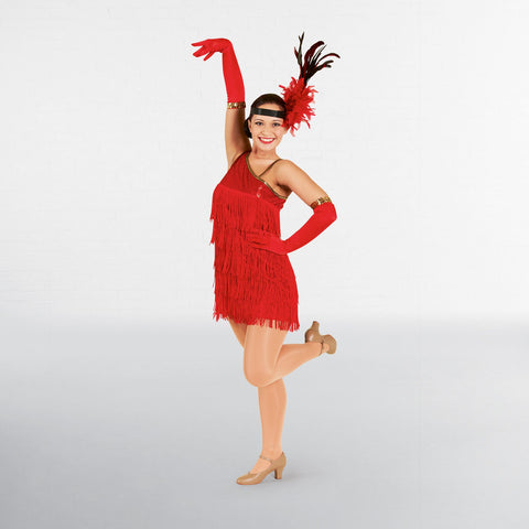 Red Sequin Flapper Dress Adult One Size-Dazzle Dancewear Ltd