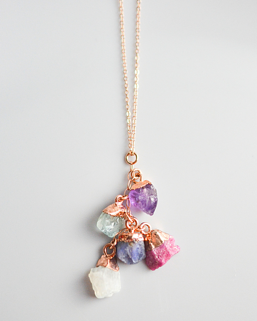 Five Birthstones Cluster Necklace